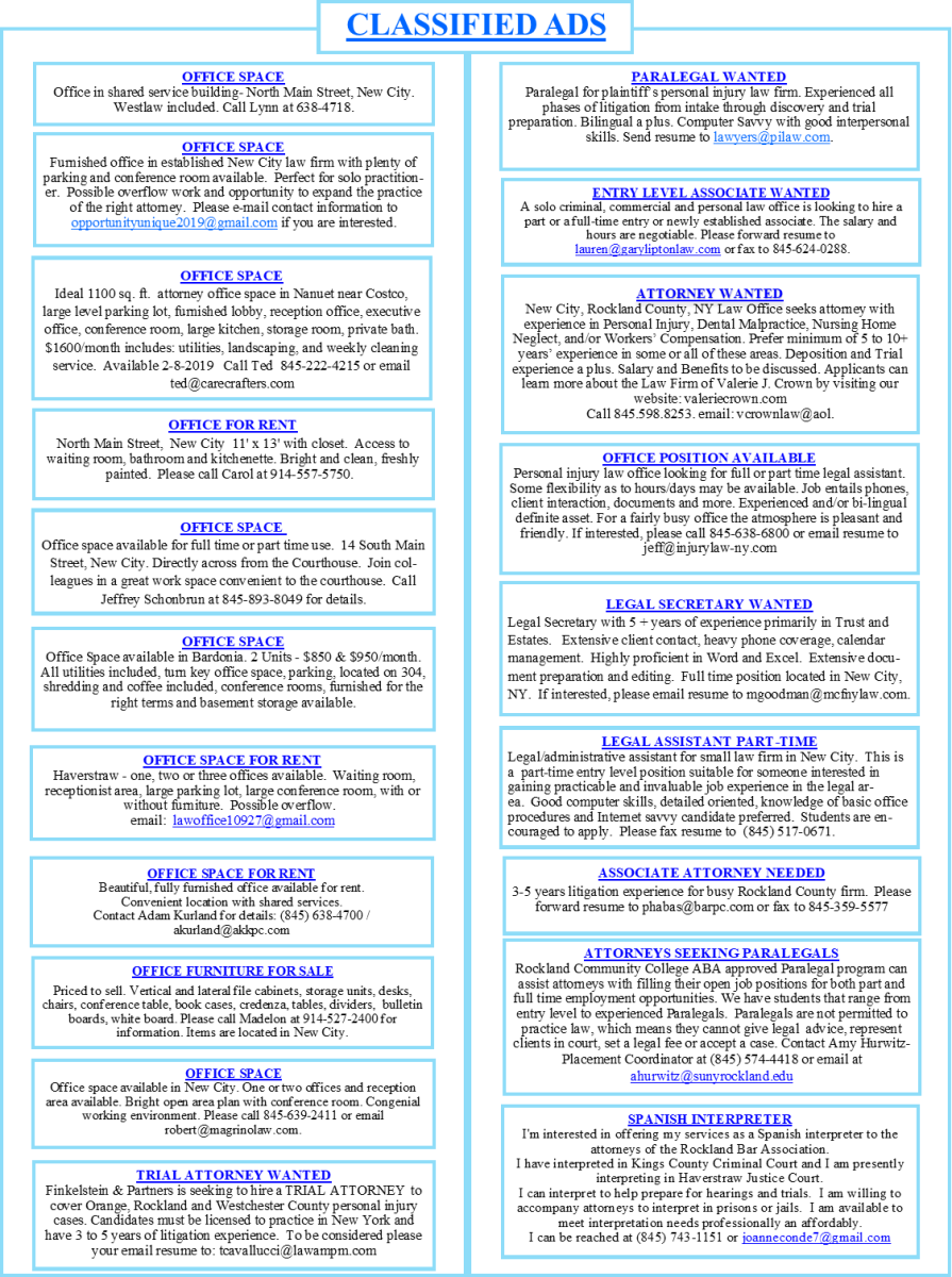 Classifieds | Rockland County Bar Association