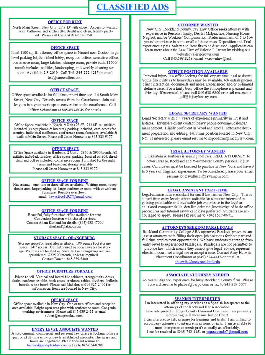 Classifieds   Rockland County Bar Association